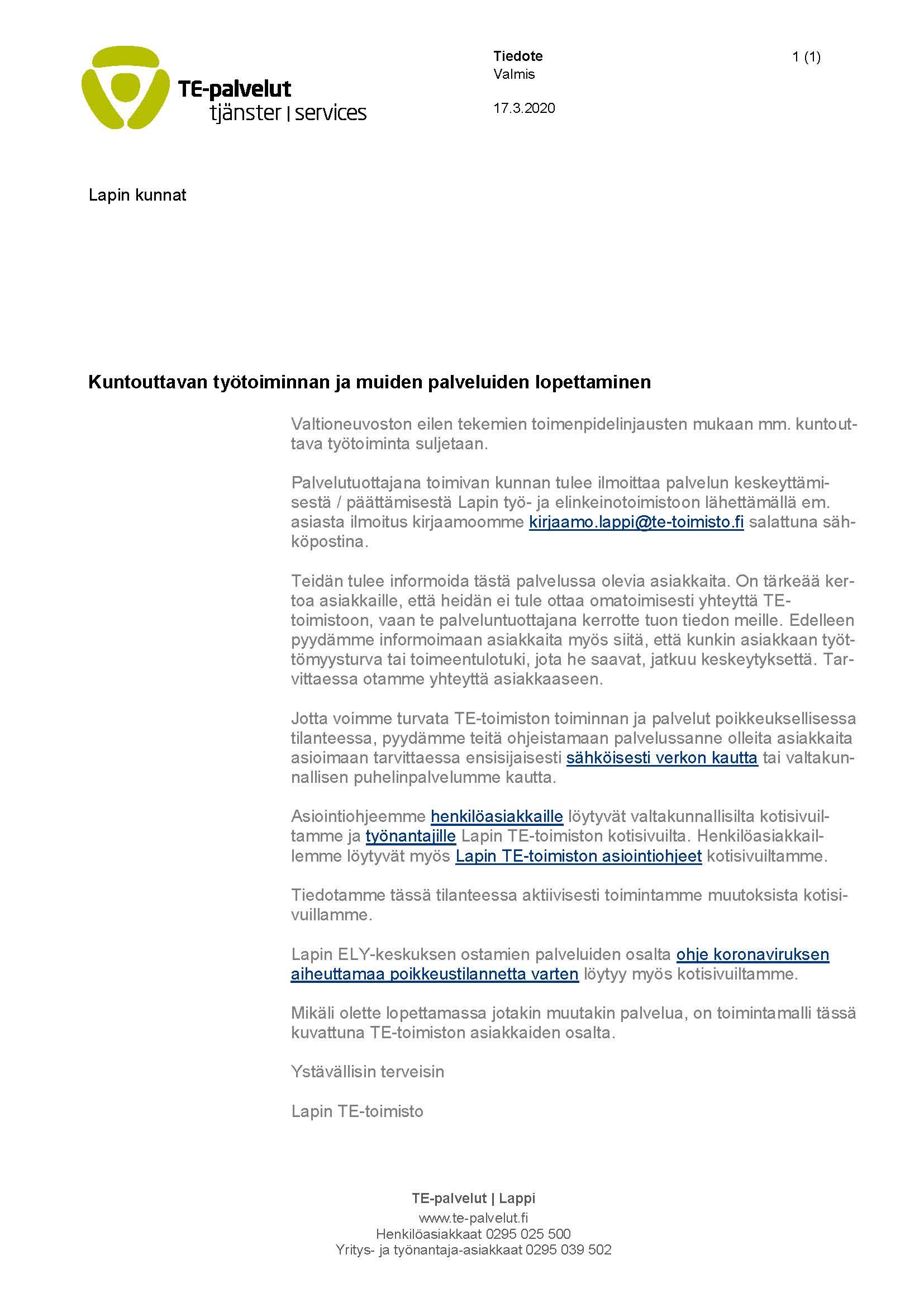 TE-palveluja uudistetaan TE-palvelut, Lappi